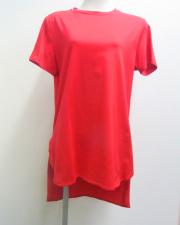 【Meraviglia(メラヴィリア)】 コットン ラウンドネック Tシャツ (レッド)