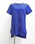 【Meraviglia(メラヴィリア)】 コットン ラウンドネック Tシャツ (ブルー)