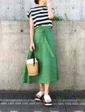 【Lualla (リュアラ)】×@Lualla×mmk__56 フレンチリネンスカート [Aライン・ミモレ丈]
