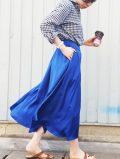 【Lualla (リュアラ)】×@michikohibiコラボ サテンフレアスカート [ロング丈]