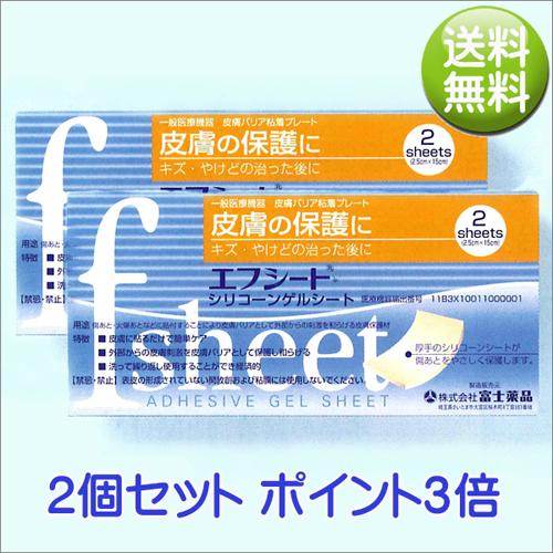 送料無料 エフシート 2.5cm×15cm 2シート入り(富士薬品)【2個セット】