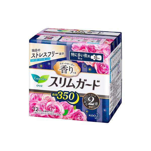 ロリエ スリムガード スイートローズの香り 特に多い夜用350 羽つき(医薬部外品)12個入×16パック(1ケース)花王 KO