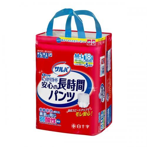 サルバDパンツしっかりガード長時間 M-L 18枚×3パック(白十字)【直送品】【送料無料】【4987603354876】