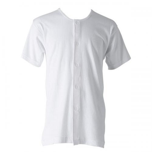 【紳士肌着 介護】 綿100% 半袖ワンタッチインナー2枚組 (前開き) 日本製/白/M/L 【代引不可】katakura