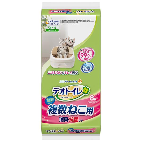 ユニチャーム デオトイレ複数ねこ用消臭・抗菌シート8枚×12パック(1ケース)(JP)