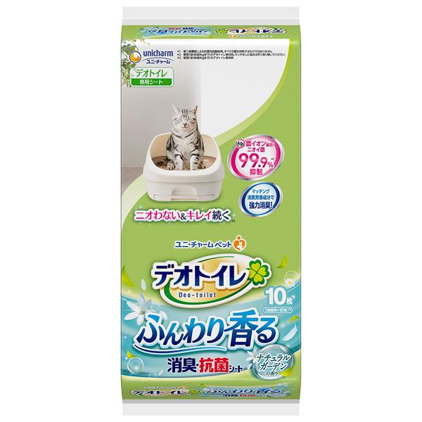 ユニ・チャームペット デオトイレ ふんわり香る消臭・抗菌シートナチュラルガーデンの香り10枚×24袋入り 1ケース(JP)