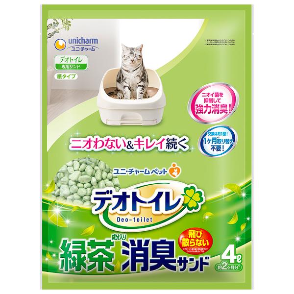 送料無料 ユニ・チャームペット デオトイレ 飛び散らない緑茶成分入り消臭サンド4L×8袋入り 1ケースJP
