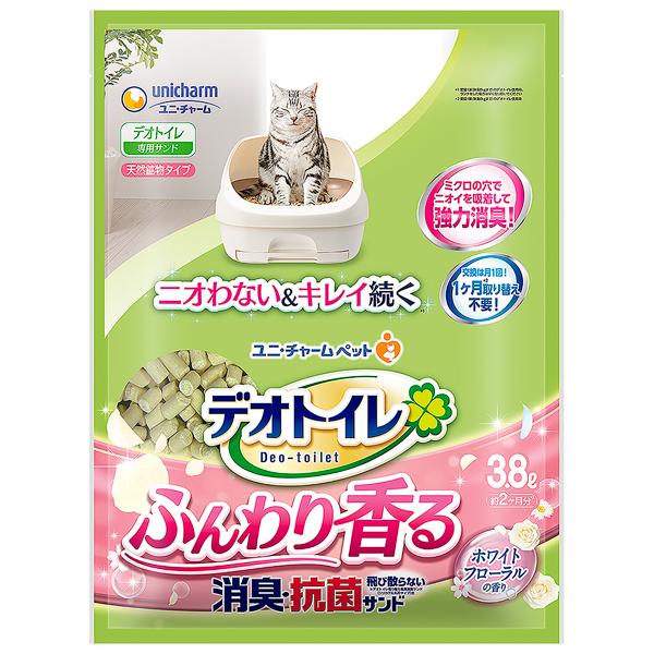 ユニチャーム デオトイレふんわり香る消臭・抗菌サンド ホワイトフローラルの香り3.8L×4パック(1ケース)(JP)