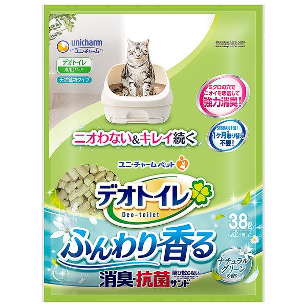 ユニチャーム デオトイレふんわり香る消臭・抗菌サンド ナチュラルグリーンの香り 3.8L×4パック(1ケース)(JP)