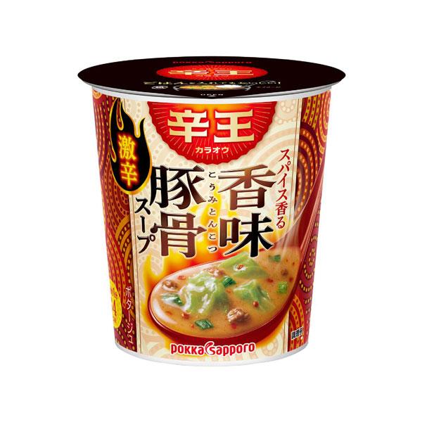 ポッカサッポロ 辛王スパイス香る香味豚骨スープカップ 21.8g×24個入り (4ケース) (MS)