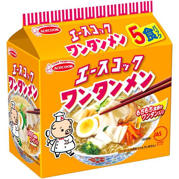 (袋)ワンタンメン 5食パック 475g×18個入り (1ケース) (MS)