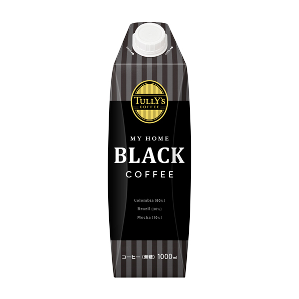TULLY'S COFFEE MY HOME BLACK 紙キャップ付 1000ml×6本入り (1ケース)(伊藤園)