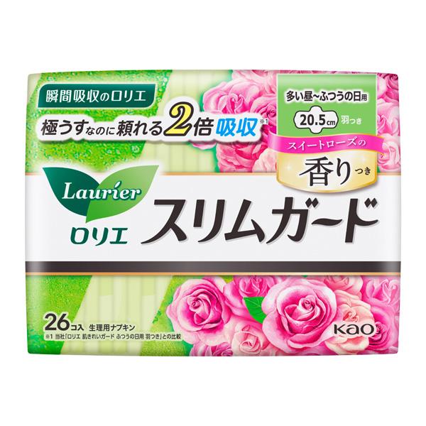 ロリエ スリムガード スイートローズの香り 多い昼~ふつうの日用 羽つき(医薬部外品)26個入×16パック(1ケース)花王 KO
