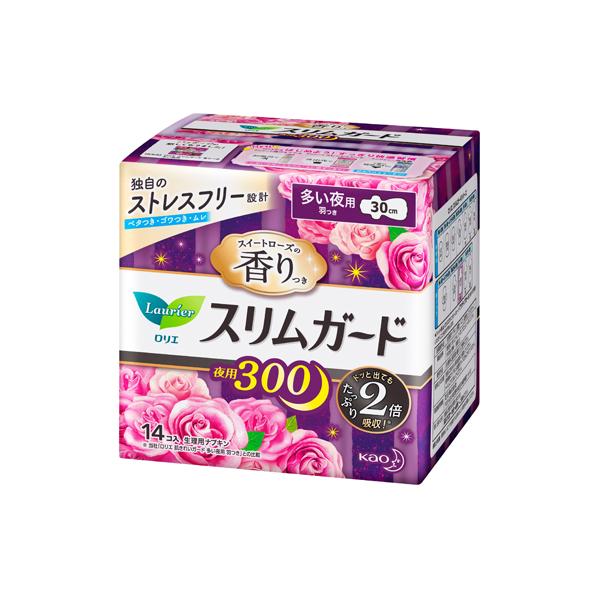 ロリエ スリムガード スイートローズの香り 多い夜用300 羽つき(医薬部外品)14個入×16パック(1ケース)花王 KO