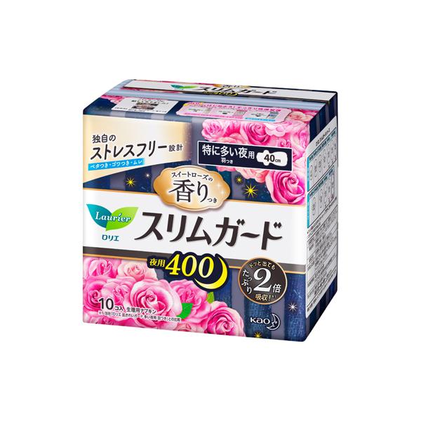 ロリエ スリムガード スイートローズの香り 特に多い夜用400 羽つき(医薬部外品)10個入×16パック(1ケース)花王 KO