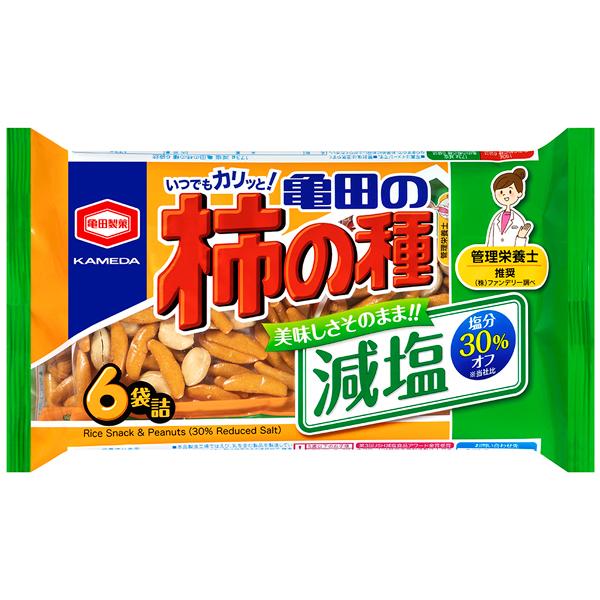 亀田製菓 減塩亀田の柿の種6袋詰 173g×12個入り (1ケース) (YB)
