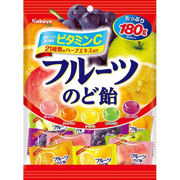 カバヤ フルーツのど飴 180g×10個 (YB)