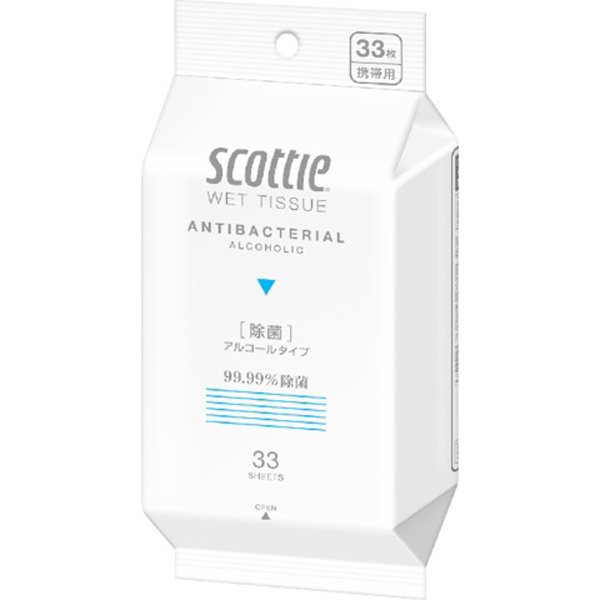 スコッティ ウェットティシュー 除菌アルコールタイプ33枚携帯用(SH) ※クーポン適用対象外、個数制限、ポイント5倍