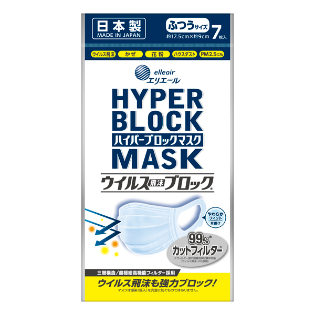 ハイパーブロックマスクウィルス飛沫ブロック普通サイズ 7枚入り(SH)