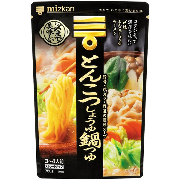 ミツカン 〆まで美味しいしいとんこつしょうゆ鍋つゆストレート  750g×12個入り (1ケース) (KT)