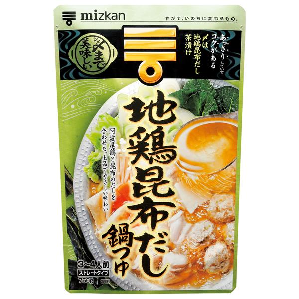 ミツカン 〆まで美味しい地鶏昆布だし鍋つゆストレート 750g×12個入り (1ケース) (KT)つゆストレート 750g×12個入り (1ケース) (KT)