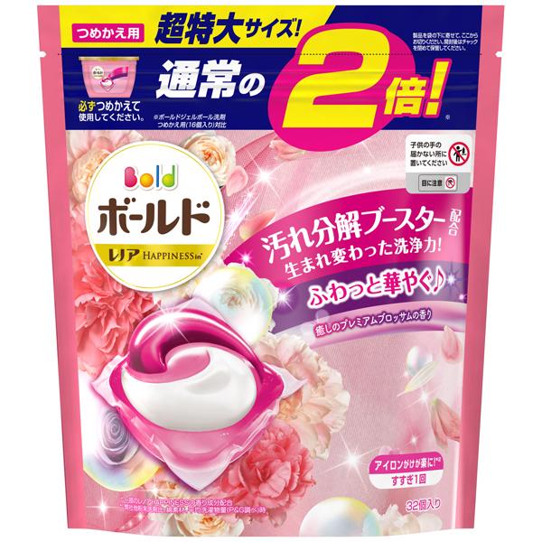 P&G ボールド ジェルボール3 D癒しのプレミアムブロッサムの香り つめかえ用 超特大 32個入り PP