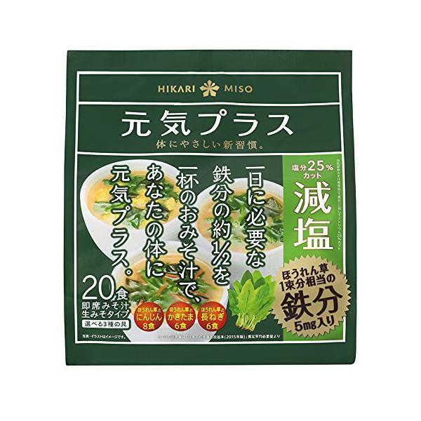 送料無料 元気プラス 鉄分入り減塩みそ汁 20食(1ケース24個) (MS)
