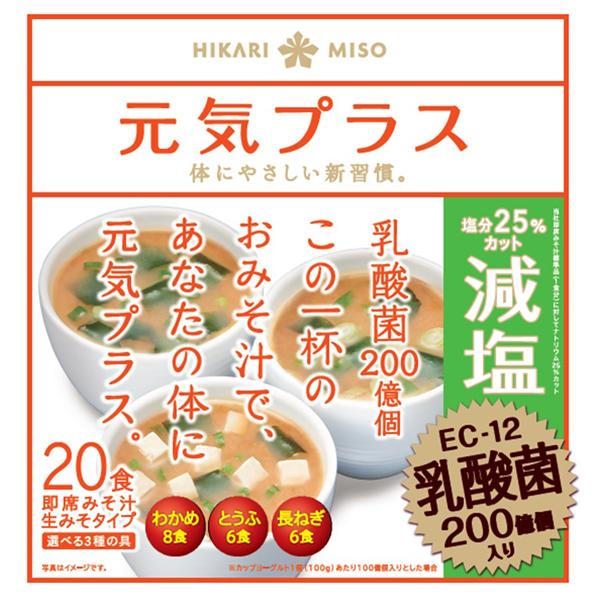 送料無料 元気プラス 乳酸菌入り減塩みそ汁 20食(1ケース24個) (MS)