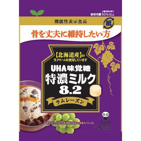 UHA味覚糖 機能性表示食品 特濃ミルク8.2 ラムレーズン 93g×72個入り (1ケース) (SB)