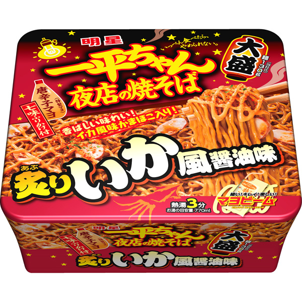 明星 一平ちゃん夜店の焼そば 大盛 炙りいか風醤油味 ×12個入り (1ケース) (MS)