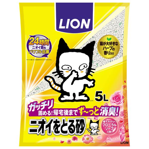 ライオン商事 ニオイをとる砂 フローラルソープの香り5L×4個(1ケース)(JP)