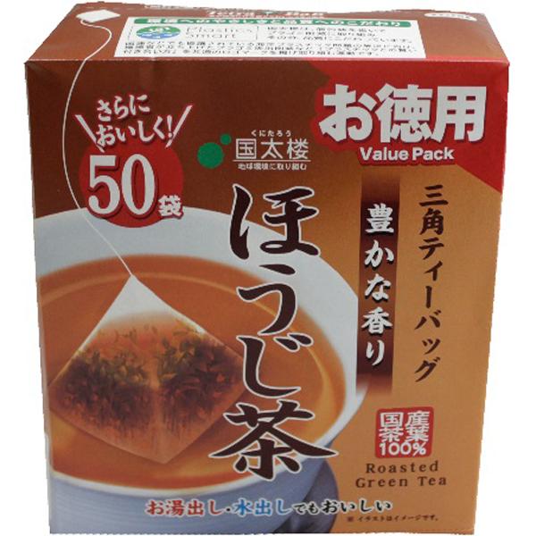 国太楼 50Pお徳用豊かな香りほうじ茶三角ティーバッグ 2g×50p×6個入り (1ケース) (MS)