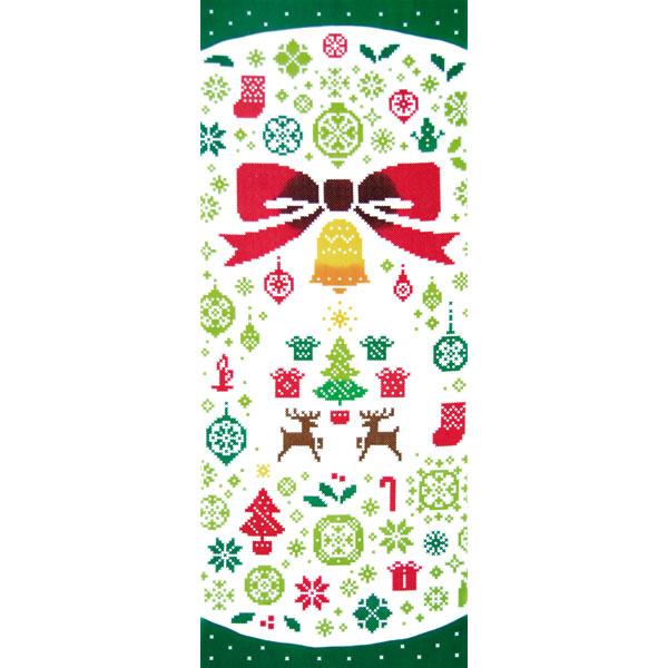 気音間 手ぬぐい クリスマス/リースステッチ/T099-54436