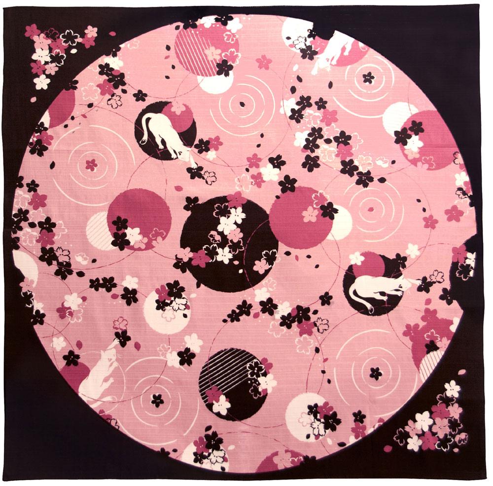 気音間 綿大風呂敷 約90cm ねこも花見/M399-66682