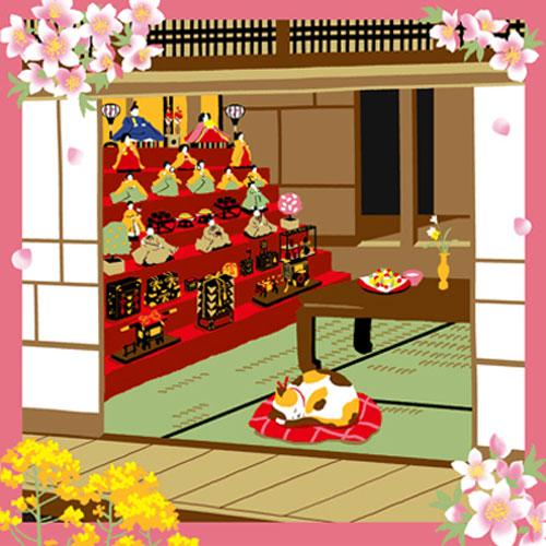 三毛猫みけの夢日記 綿小風呂敷 約50cm みけとお雛様/3月/M112-3902
