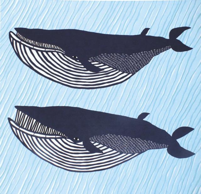 katakataむすび 綿風呂敷 約104cm/ナガスクジラ/ブルー/M306-2012-302