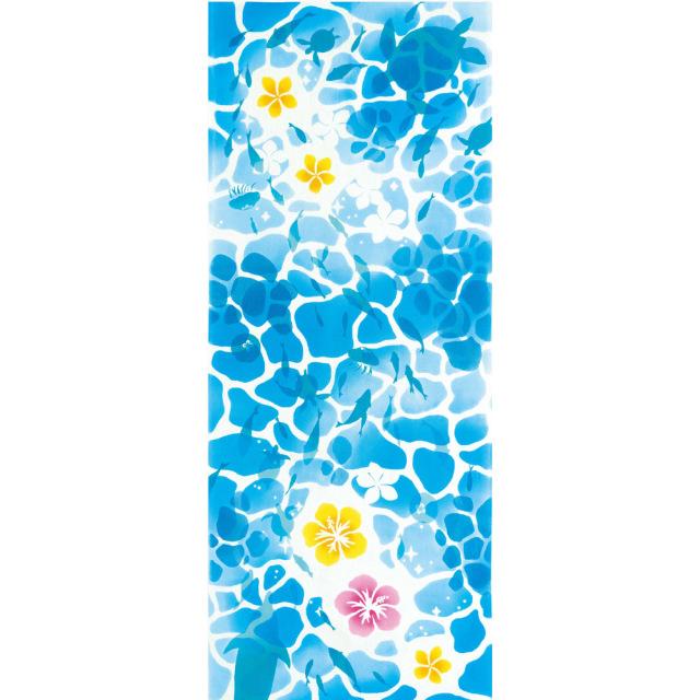 気音間 手ぬぐい 夏の風物詩/マリンブルー/T099-50042