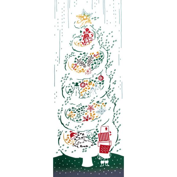 気音間 手ぬぐい クリスマス/白雪ツリー/T099-54559