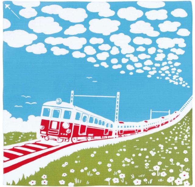 気音間 綿小風呂敷 約50cm 電車日和/M199-67135