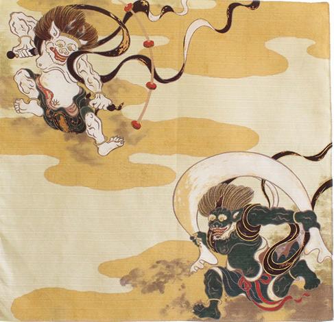 風神雷神 綿小風呂敷 約50cm 祥雲/クリーム/M106-20801-101
