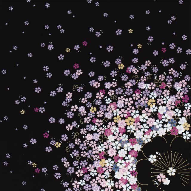 丹後ちりめん友仙ふろしき 約68cm/桜/黒/C212-2404