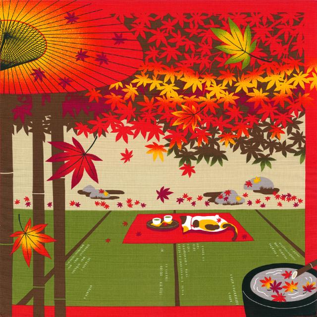 三毛猫みけの夢日記 綿小風呂敷 約50cm みけと紅葉/11月/M112-3912