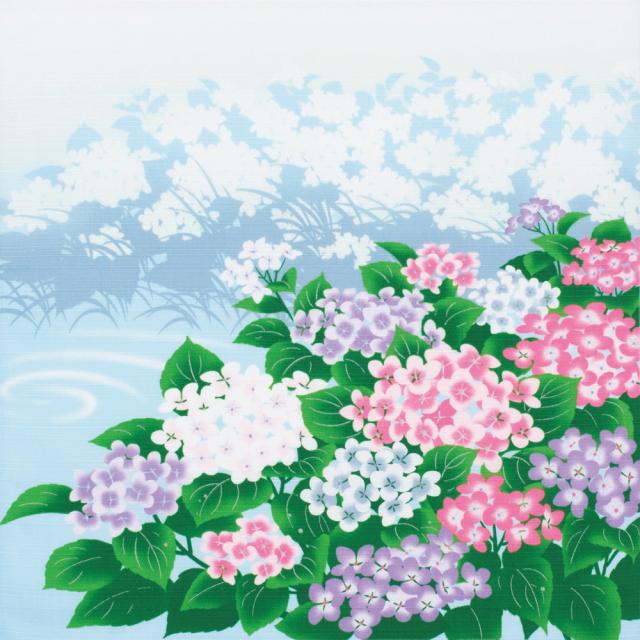 日本の四季 綿小風呂敷 約50cm 夏/紫陽花/M112-4005