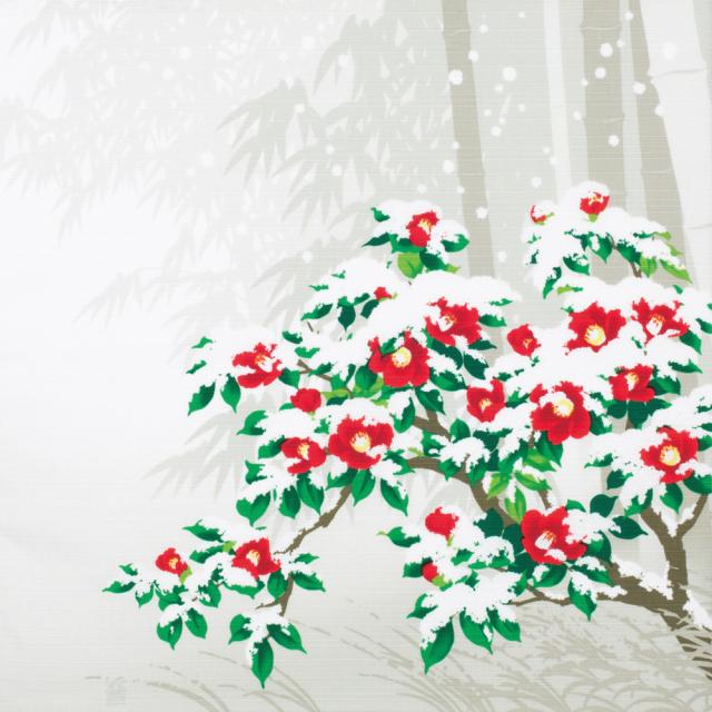 日本の四季 綿小風呂敷 約50cm 冬/椿/M112-4007