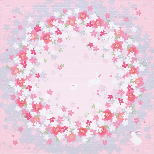 綿小風呂敷 約50cm さくらの輪/ピンク/M112-4106