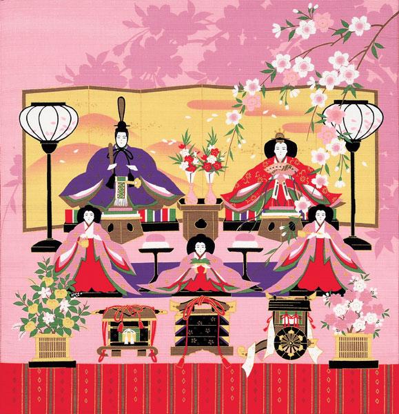 彩時記 綿小風呂敷 約50cm/ひな祭り/M112-0432