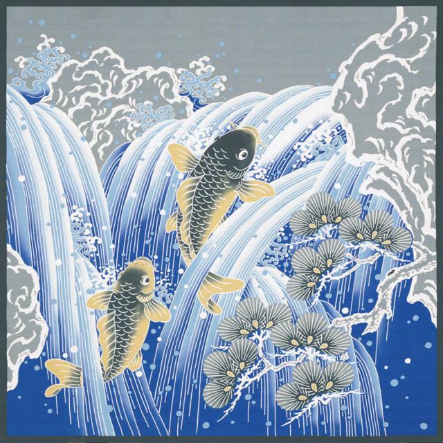 綿大風呂敷 開運 鯉の滝登り
