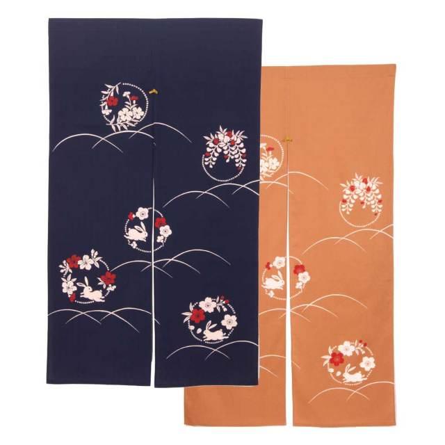 四季彩のれん 150cm 花うさぎ ベージュ