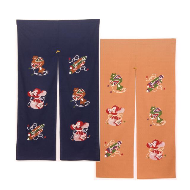 四季彩のれん 150cm 宝尽くし/N000-492