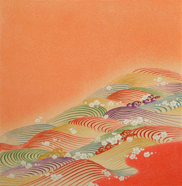 正絹ちりめん友仙風呂敷 約75×75cm/波に海/S207-A508
